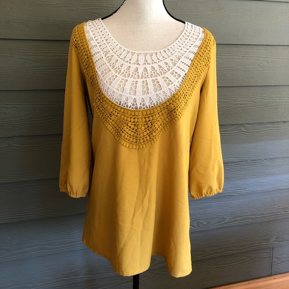 Umgee Tops - UMGEE tunic top Lace Boho Yellow Blouse Shirt M
